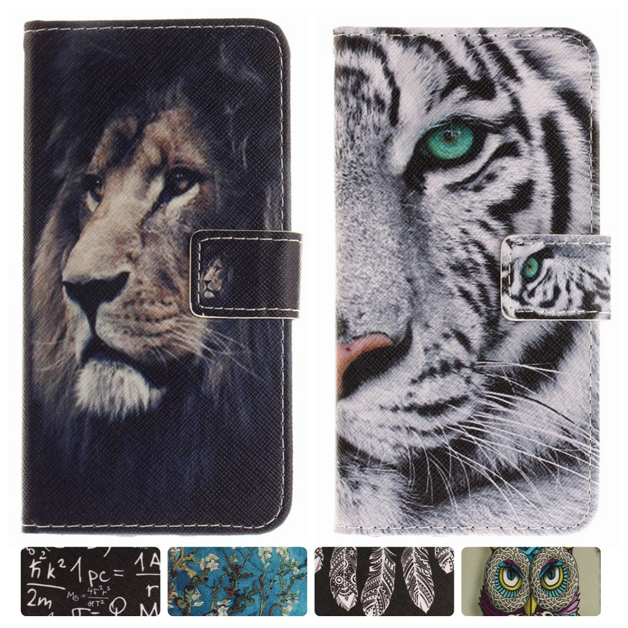 for LG Q8 Case Stand Cover Flip Phone Cases PU Leather Wallet Cartoon Owl Tiger Lion