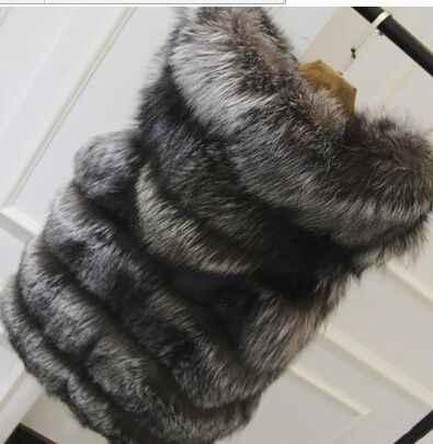 Новинка 2017 размера плюс зимнее теплое пальто жилет из меха серебристой лисы жилет с капюшоном жилет средней длины в полоску жилет из искусственного меха лисы зимняя куртка