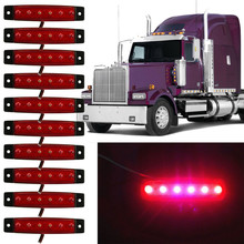 New Arrival 10pcs 6 LED Truck Lorries Bus Clearance Side Marker Indicators Light Lamp Amber Red