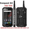ЗАВОЕВАНИЕ S8 IP68 Водонепроницаемый телефон 6000 мАч PTT Телефон Walkie Talkie телефон GPS NFC 13MP 3 ГБ RAM 32 ГБ Quad core Ip68 смартфон