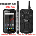CONQUEST S8 IP68 phone Waterproof 6000mAh PTT Phone Walkie Talkie Phone GPS NFC 13MP 3GB RAM 32GB Quad core Ip68 Smartphone