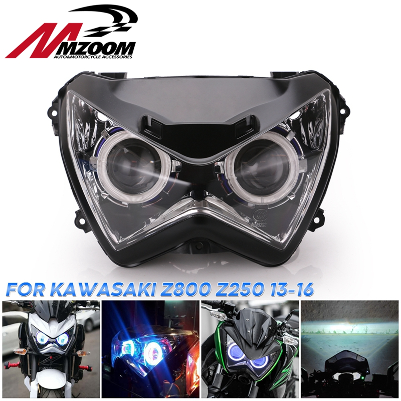 Halo Eye HID Projector Custom Headlight Assembly For Kawasaki Z800 Z250 2013 2014 2015 2016 Blue Light Color