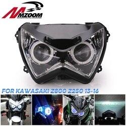 Halo Eye HID Projektor Kunden Scheinwerfer Montage für Kawasaki Z800 z250 2013 2014 2015 2016 Blau licht farbe