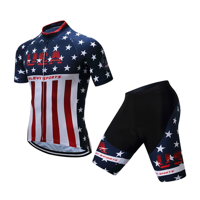 USA Mens Pro Cycling Bike Jersey shorts suit Racing Sport Cycling Clothing  Ciclismo Short Sleeve mtb Bicycle Sportswear Maillot 3df666f63
