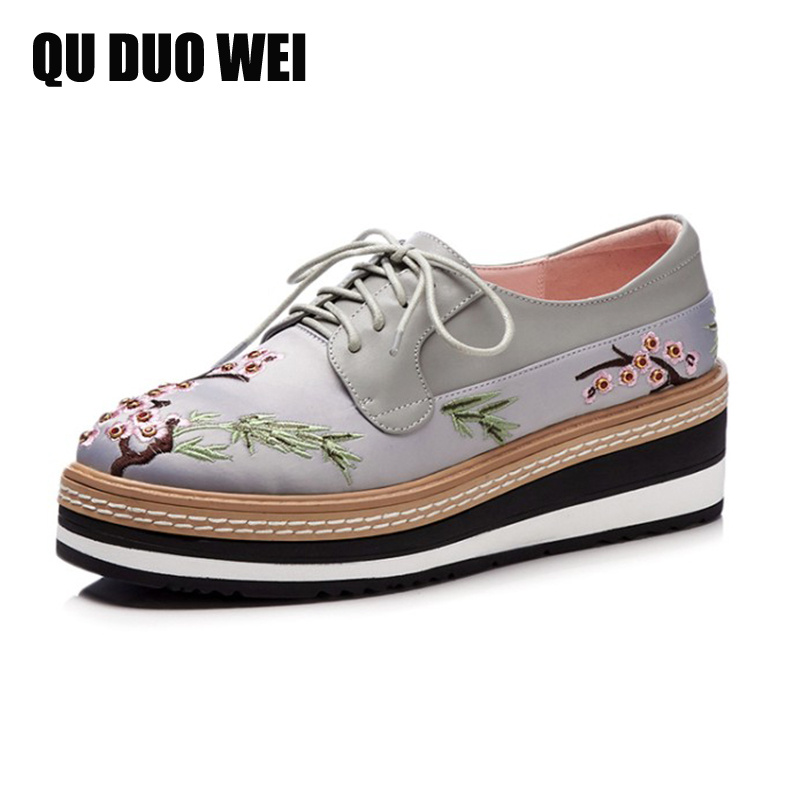 2018 New Spring Cow Leather Oxford Shoes For Women Brogue Shoes Handmade Emnroidery Flower Flat Platform Shoes Woman Creepers aardimi 100% cow leather oxford shoes for woman spring
