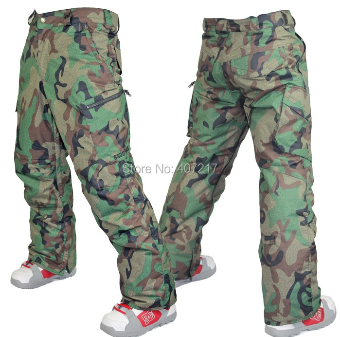 2015 mens army green camouflage ski pants gray snowboarding pants for men winter sports trousers snow pants waterproof 10K S-XL cougar 530m army green