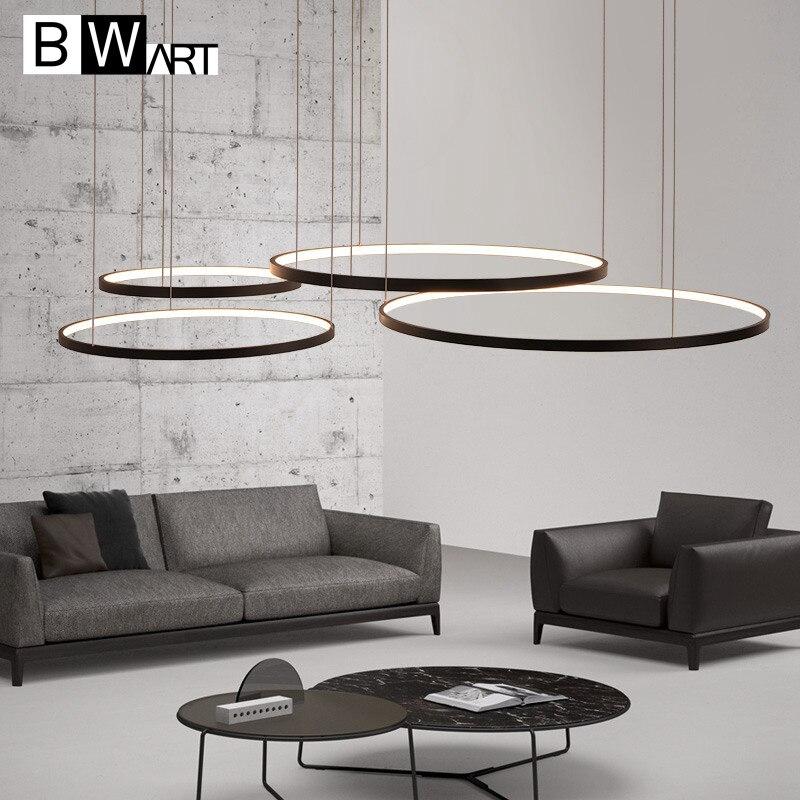 BWART modern led chandelier aluminum circle lights for Interior design engineering lighting Line hang LED ring