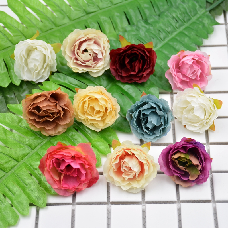 10pcs Blooming Peony Silk Artificial Flower For Wedding Party Home Room Decoration DIY Shoe Hats Accessories Handmade Craft
