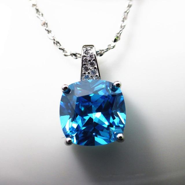 Created aquamarine necklace pendants 925 silver sea blue stone created aquamarine necklace pendants 925 silver sea blue stone pendant women jewelry squared shape free shipping aloadofball Image collections
