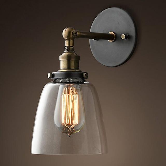 Vintage Industrial Loft Metal Wall Light Glass Shade Wall Lamp ...