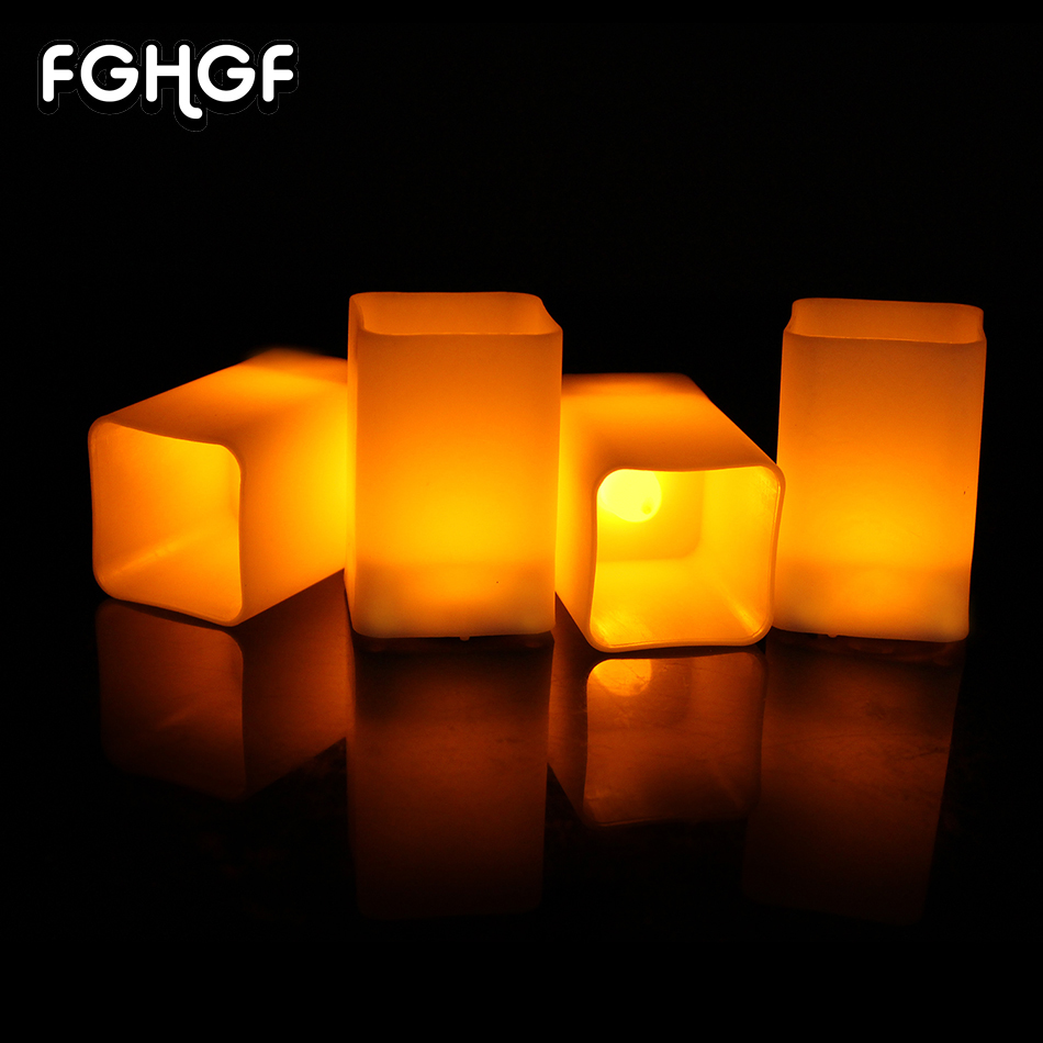 12 Pcs Flameless Led Tea Light Candles Lamp Cylindrical Flickering Yellow LED For Wedding Party Home Decoration Gifts