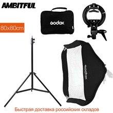 Godox 80x80 cm 31 x 31in Flash Speedlite Softbox met S type Bracket Bowens Mount Kit + 2 m Light Stand voor Camera Fotografie