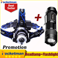 3800LM Head lamp LED Headlight CREE T6 Head lights headlamps + CREE Q5  Mini flashlight 2000lm Zoomable Zaklamp Taschenlampe