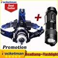 3800LM Head lamp LED Headlight CREE T6 Head lights headlamps + CREE Q5  Mini flashlight 2000lm Zoomable Zaklamp Taschenlampe