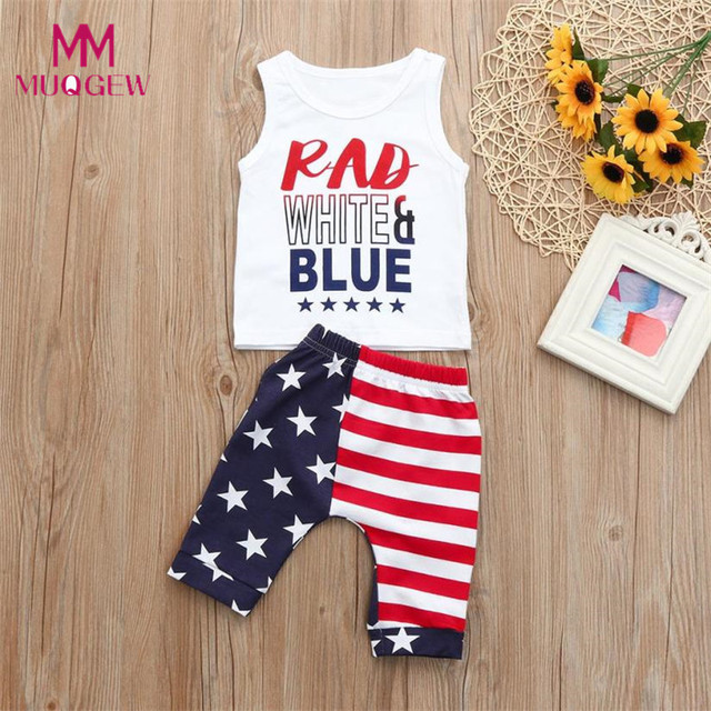 2ff5c5005766ef Toddler Baby Girls Boys Clothes Stars Striped Tops Vest T Shirt 4th Of July  Outfits Set 2018 New Summer Children Clothing