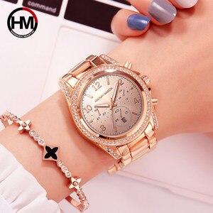 Image 4 - Relógio feminino ouro rosa, 1 conjunto, marca de luxo, relógios, calendário, impermeável, relógio de moda para senhoras