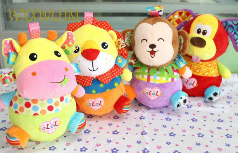Stuffed plush baby rattle infant child children safe material bite soft ball baby tumbler rattle teeth hand ball toy