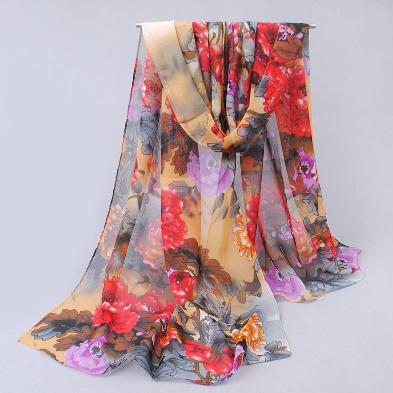 Women Girl print Shawl Gauze Long Wrap Stole polyester Chiffon Soft Scarf High Quality MDH