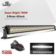 "Co Licht 42 ""780 W Led Light Bar Offroad 3 Rijen Combo Led Verlichting 12V 24V 390W 585W Rijden Lamp Voor Niva Vrachtwagens 4X4 Boot Atv"