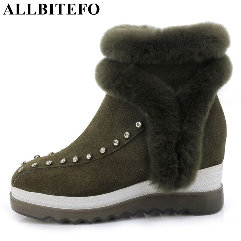 ALLBITEFO genuine leather platform boots wedges heel women ankle boots winter warm fashion sexy girls motorcycle boots for woman allbitefo natural genuine leather snake texture cow leather women ankle boots fashion sexy motorcycle boots girls winter shoes