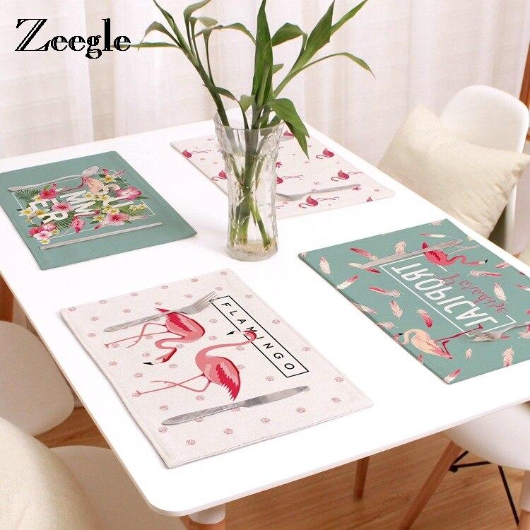 Zeegle Portable Placemat Flamingo Printed Kids Baby Linen Non-slip Cup Mat Heat Resistant Tableware Mat Table Decor Set