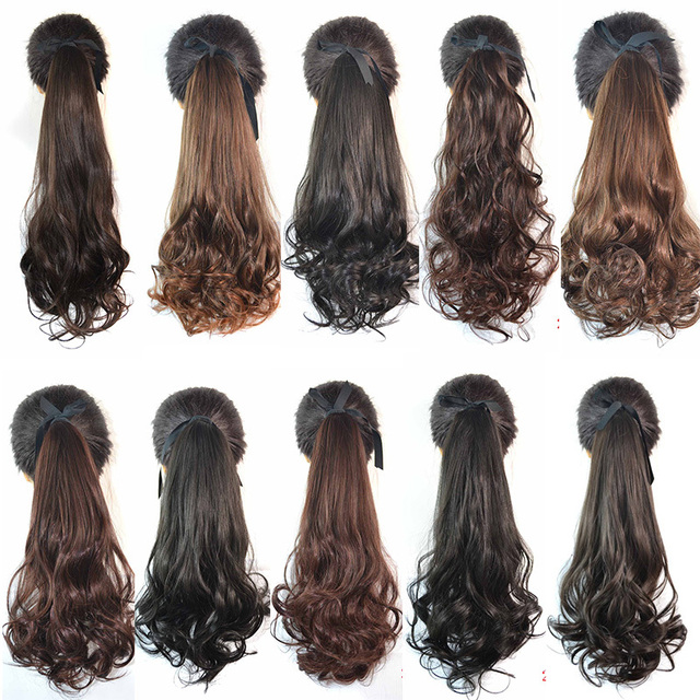 Heat Resistance Fiber 6 Different Styles 60cm Lady Fashion Ponytails Hair Pieces Buns  High Quality Ribbon Ponytail Hairpieces