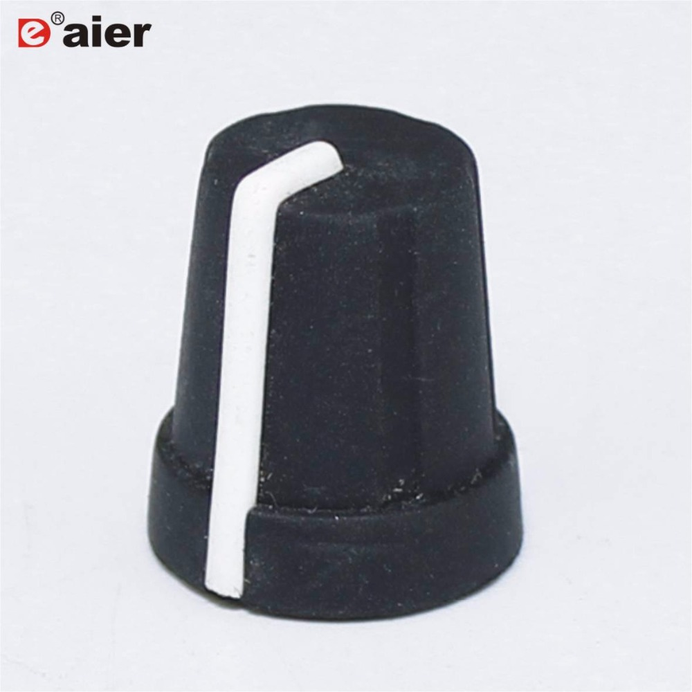 10PCS 15X16MM Knurled Control 6MM Potentiometer Knob Black Rubber Caps 18 Teeth Knurl Shaft Hole Diameter With White Pointer