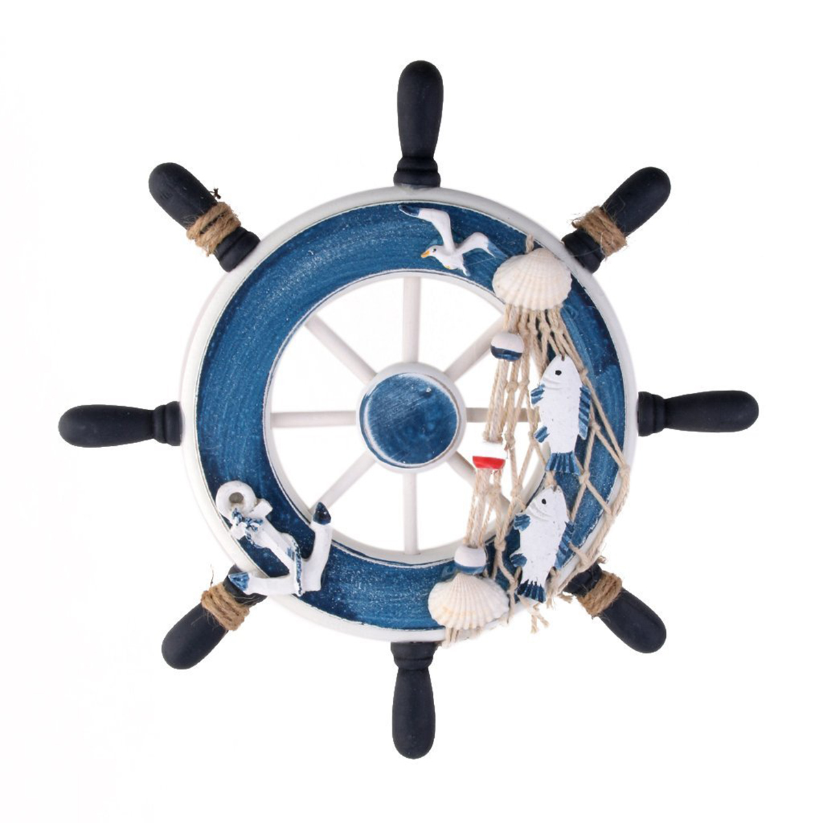 Wooden 23cm Beach Boat Ship Steering Wheel Fishing Net Home Wall Decoration Blue