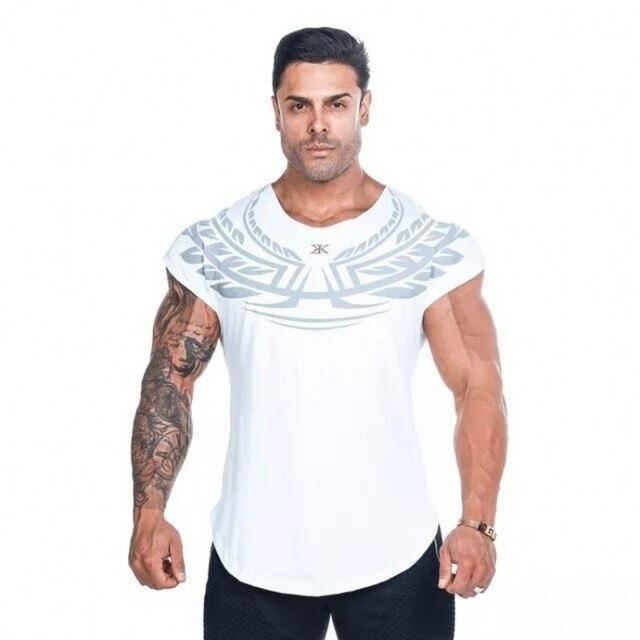 74c1cee8734f6 2018 Verão Nova Mens camiseta Crossfit Fitness Musculação Academias Moda  Masculina Curto Marca de Roupas de