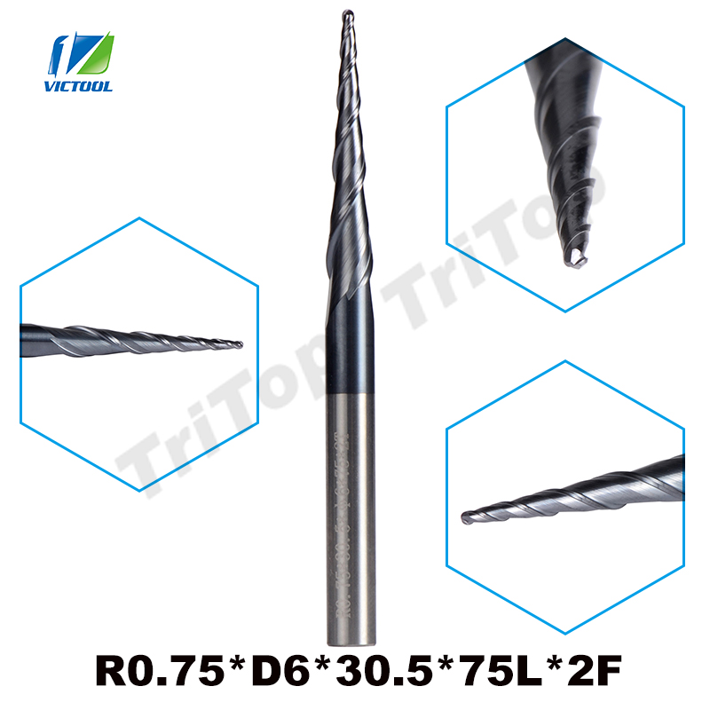 2pcs/lot R0.75*D6*30.5*75L*2F solid carbide 6mm Ball Nose Tapered End Mills router bits cnc taper wood metal milling cutter 1pcs r0 75 d6 30 5 75l 2f solid carbide 6mm ball nose tapered end mills router bits cnc taper wood metal milling cutter