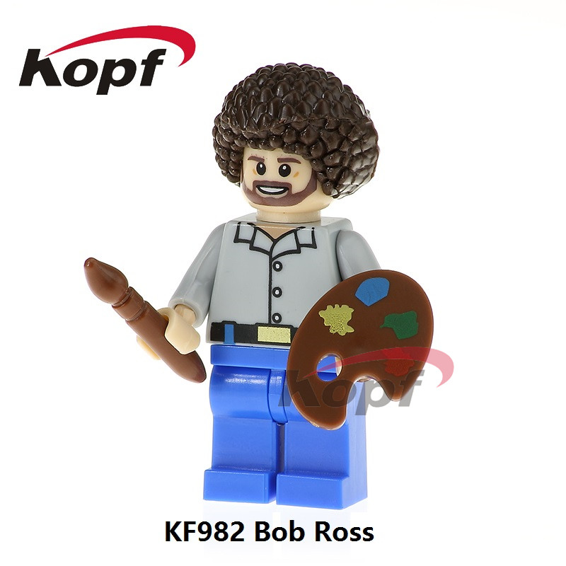 Single Sale Building Blocks Super Heroes American Painter Bob Ross The Joy of Painting Dolls Bricks Children Toys Gift KF982 single sale super heroes colle black adam sharon carter dick grayson green lantern shazam building blocks children toys kl9005
