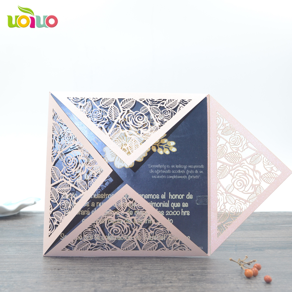 Top sell laser cut rose handmade wedding invitation card guangzhou ...