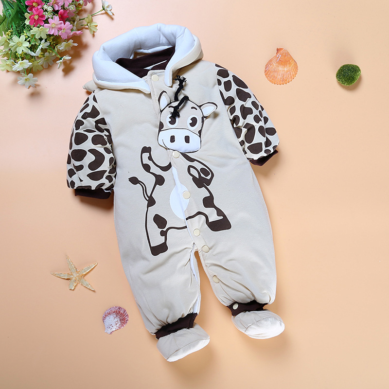 Grey Cow Milk Baby Winter Clothes Fleece Thick Newborn Outfits Hooded Jumpsuits Girls Coat Infant Clothing Bebe Overall + Sock