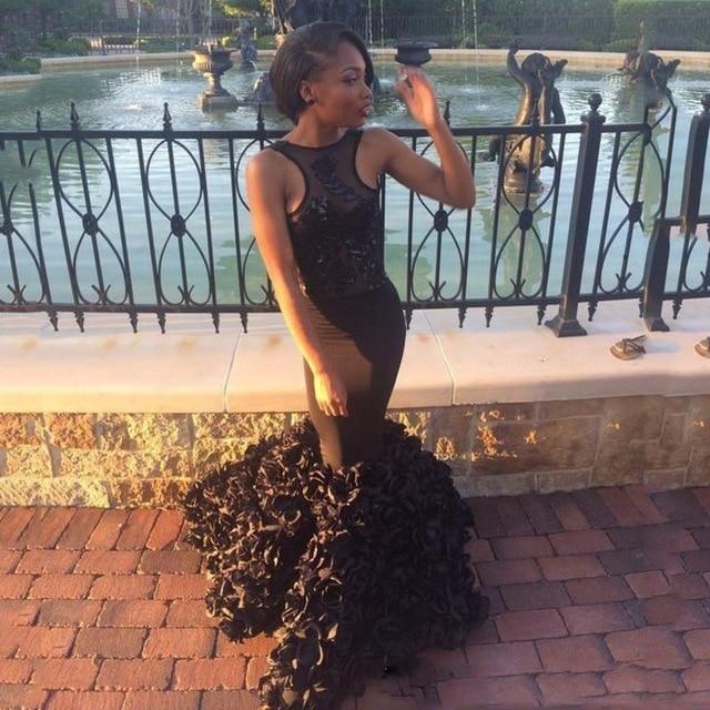 2017 Sexy Backless Black African Mermaid   Evening     dress   Plus Size Sleeveless Prom   Dress   Vestido de noche Robe de soiree longue