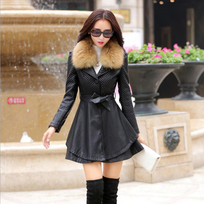 MSAISS 100% Raccoon Fur Collar   Leather   Coat Women 2017 Winter Long Ladies Sheepskin Trench Coat Big Size Ladies   Leather   Jacket