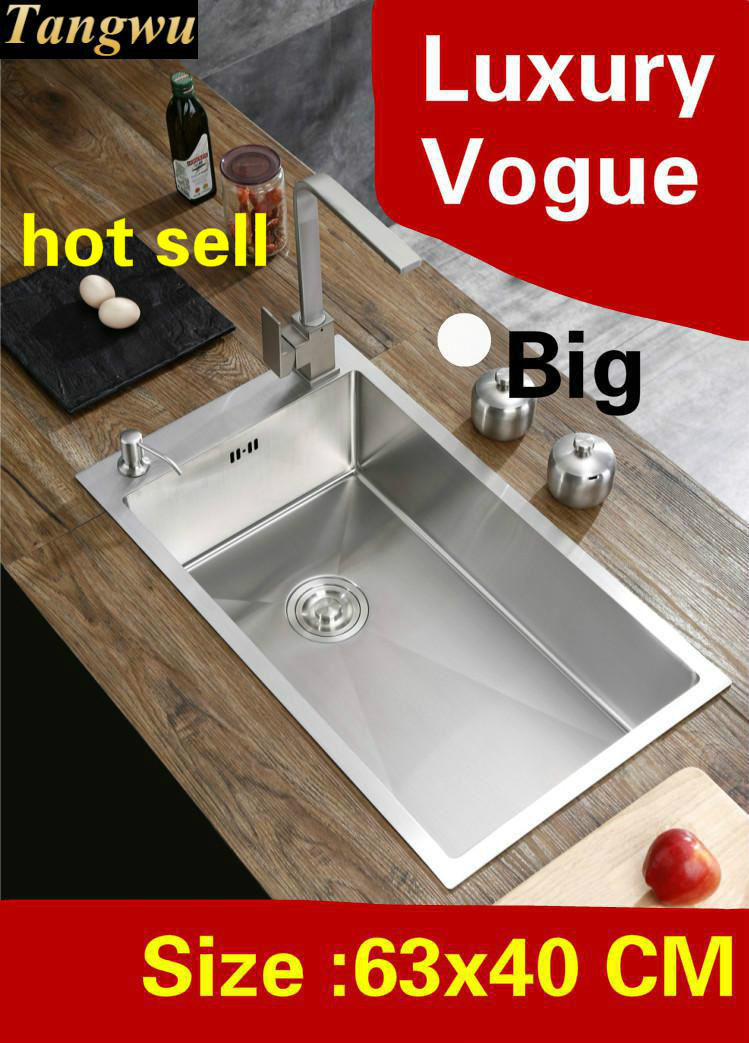 Free shipping Apartment big kitchen manual sink single trough wash vegetables luxury 304 stainless steel big hot sell 63x40 CMFree shipping Apartment big kitchen manual sink single trough wash vegetables luxury 304 stainless steel big hot sell 63x40 CM