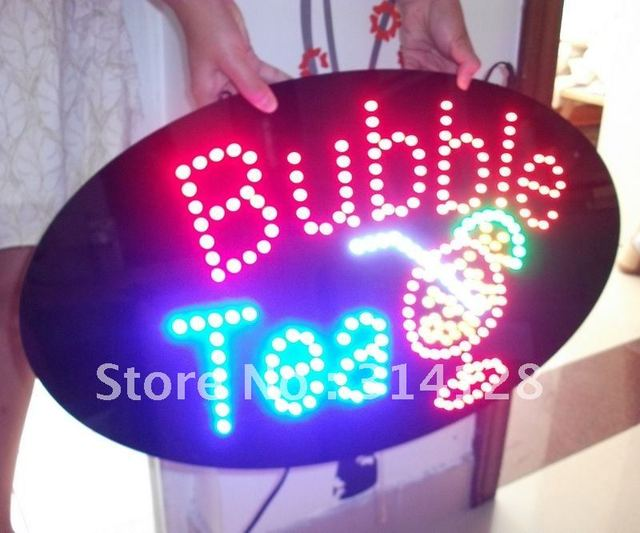 HOT SELLING LED BUBBLE TEA SIGN,LED OPEN SIGN, FREE SHIPPING