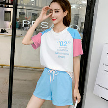 2019 New Women Short Sleeve T-shirt Shorts Two-piece Set Female Summer Small Fresh Korean Sports Cute Ins Matching Suit Outfits