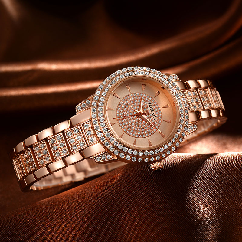 Rhinestone Baosaili Luxury Brand steel Quartz Watch Fashion Women Clock female Ladies Dress Wristwatch Gift Silver Gold bs-016 bs brand women luxury fashion rhinestone watches lady shining dress watch square bracelet wristwatch ladies diamond quartz watch