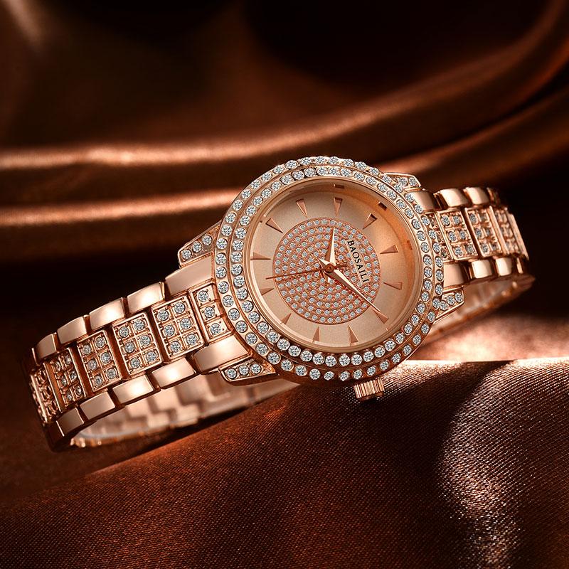 Prix pour Strass Baosaili Marque De Luxe en acier Montre À Quartz Femmes Horloge De Mode Dames femmes Robe Montre-Bracelet Cadeau Argent Or bs-016