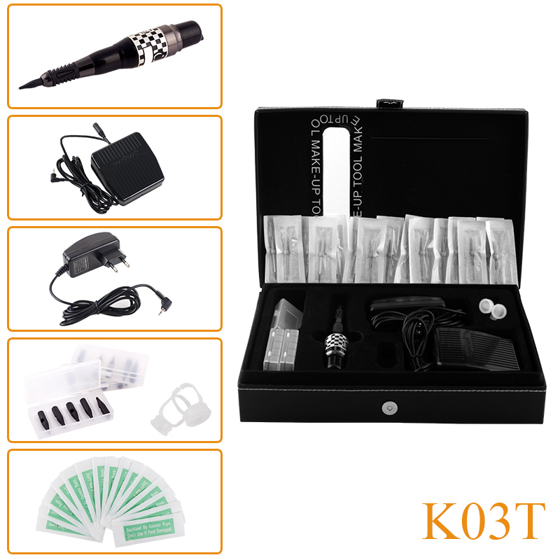 New Design K03T Professional Permanent Makeup Eyebrow Lip Tattoo Machine Kit Cosmetic Machine Pen Needles Tips professional permanent makeup tattoo eyebrow pen machine 50 needles tips power supply set us plug drop shipping wholesale