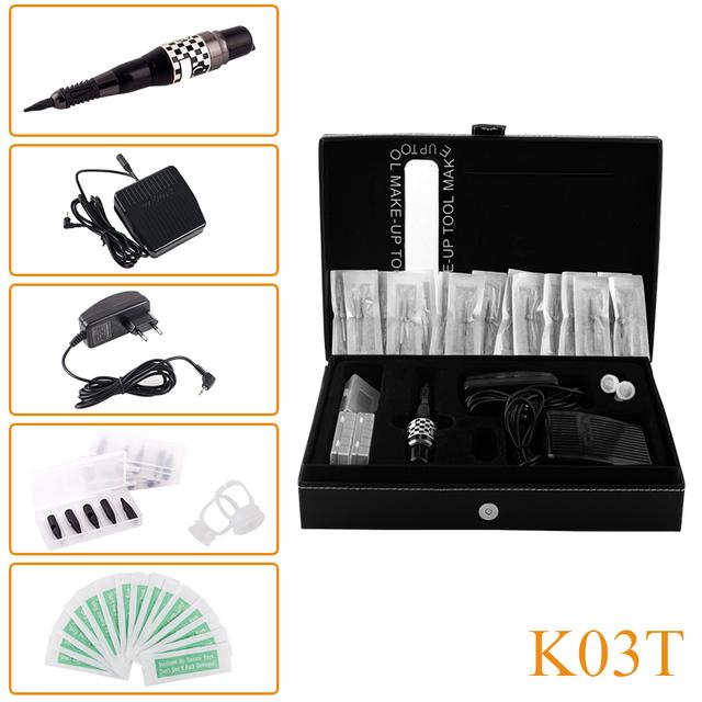 Nuevo Diseño K03T Profesional Máquina de Tatuaje Kit Máquina de La Pluma Cosmética Maquillaje Permanente de Cejas Labio Agujas Consejos