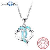 Kalp Kolye Kolye Aşk Jewerly 925 Gümüş Opal Taş Kolye ve Kolye Hediye Onu (JewelOra NE101998)