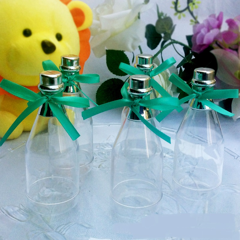 100pcs champagne bottle plastic clear color transparent wedding baby shower baptism candy box gift favor box