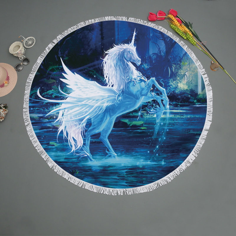 Cartoon Star Unicorn Print Round Beach Towel Microfiber Tassel Large Wall Tapestry Picnic Sport Yoga Blanket Mat Home Deco 150cm