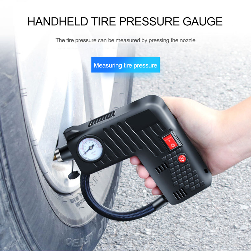 Multi-Function 12V Portable Car Tire Air Pump Black/Green Dropshipping Emergency Lighting Safety Hammer Electric Fast Inflator