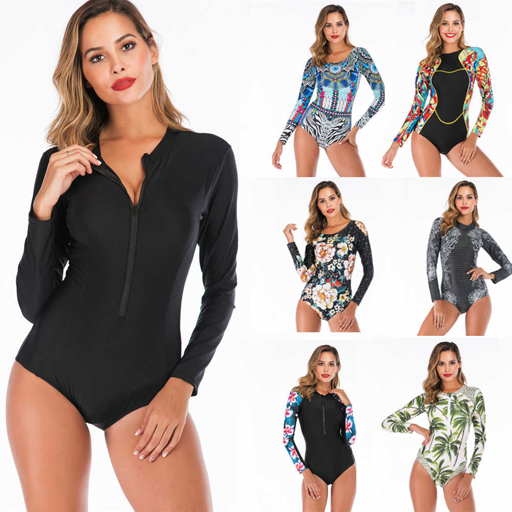 Lengan Panjang Ruam Penjaga Wanita Gambar Bunga Baju Renang Zipper One Piece Swimsuit Leher Tinggi Surf Jas Hitam Menyelam Bodysuit Beachwear