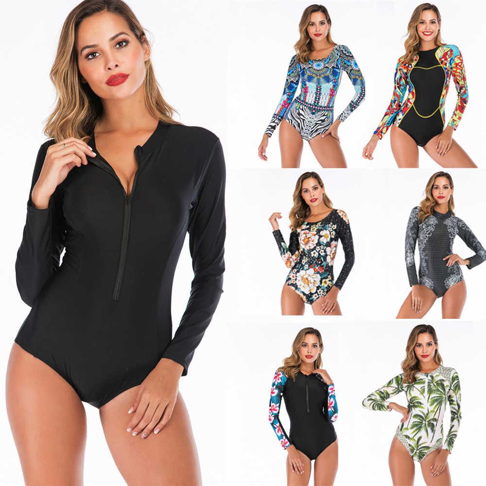 Lengan Panjang Ruam Penjaga Wanita Gambar Bunga Baju Renang Zipper One Piece Swimsuit Leher Tinggi Surf Jas Hitam Menyelam Bodysuit Beachwear