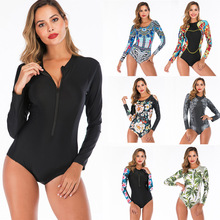 Long Sleeve Rash Guard Women Floral Print Swimwear Zipper One Piece Swimsuit High Neck Surf Suit Black Dive Bodysuit Beachwear