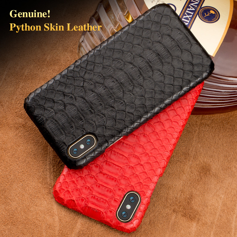 LAGNSIDI brand Leather phone case natural python skin cover phone case for iphone 8Plus 5s se 7plus xr x cover handmade custom in Half wrapped Cases from Cellphones Telecommunications